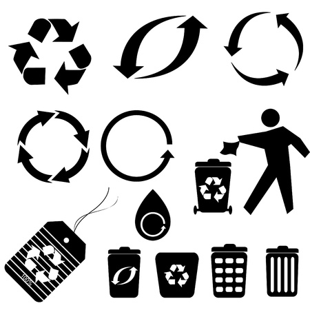 Various recycling symbols and icons