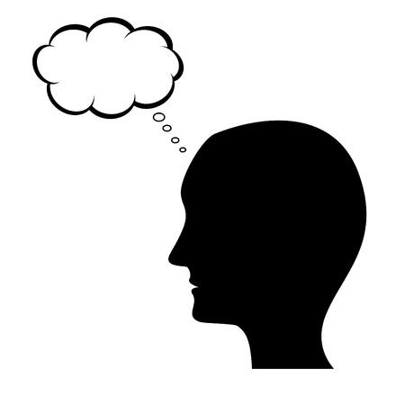 person thinking: Silueta de hombre de pensamiento con la burbuja de pensamiento