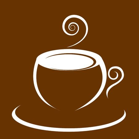 Hot morning coffee on brown background Vector