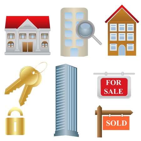 homes: Real estate and housing related icons Illustration