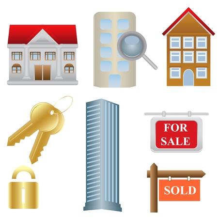 Vastgoed en huisvesting verband pictogrammen