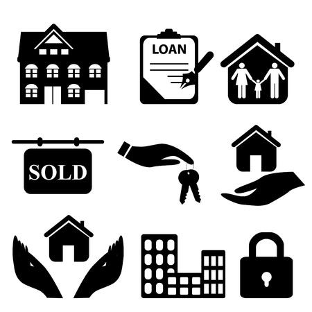 Immobilier symboles icône ensemble Banque d'images - 8386932