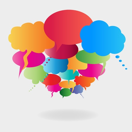 chat: Colorful cartoon speech bubbles