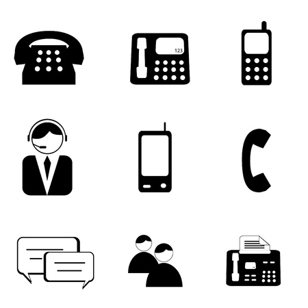 customer service phone: Telephone and communication icon set