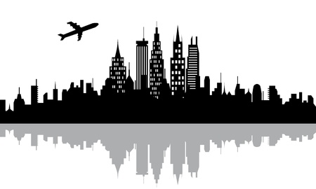 Plane flying over urban city with skyscrapers
