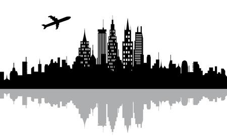 Vliegtuig vliegt over stedelijke stad met wolkenkrabbers