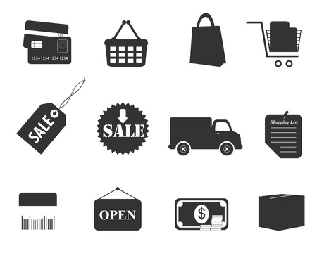 Shopping icon set in gray Illustration