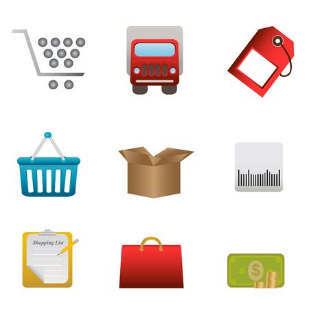 Shopping symbols for design elements and buttons Stock Vector - 8580437