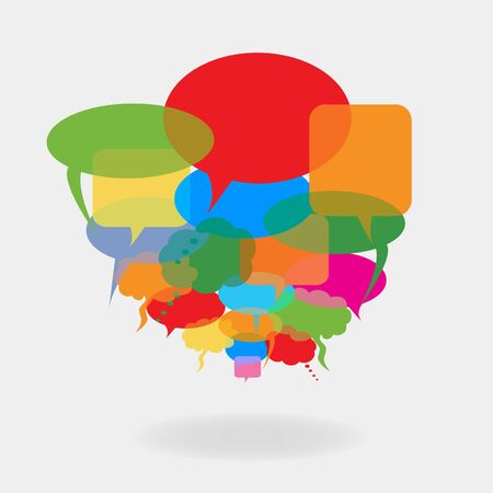 chat: Colorful cartoon speech and talk bubbles or balloons