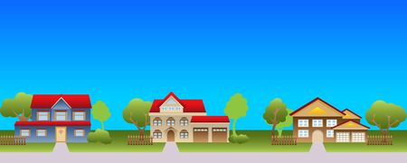 residential neighborhood: Suburban houses in a nice neighborhood Illustration