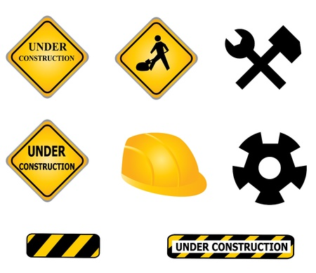 Construction signs and tools icon set Stock Vector - 8627651