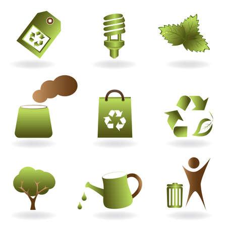 生態と環境関連のアイコンを設定  イラスト・ベクター素材