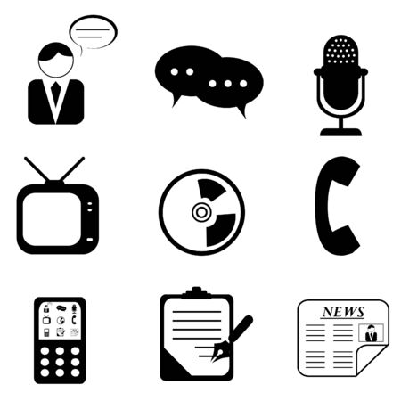 telephone: Media icons and symbols silhouettes Illustration