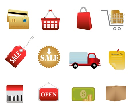 Shopping icon set and buttons Stock Vector - 8627654