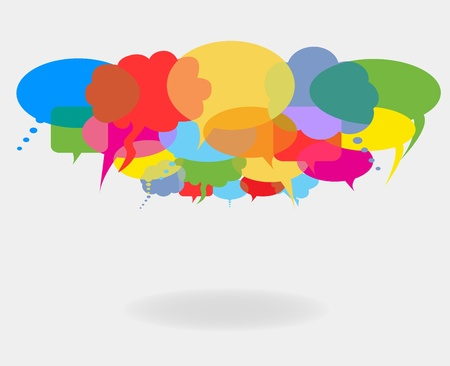 Rete sociale di conversazione e discorso bollicine