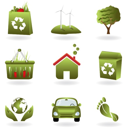 Reciclaje y verde relacionados con símbolos de eco