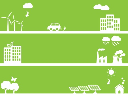 Eco and environment friendly green towns Vector