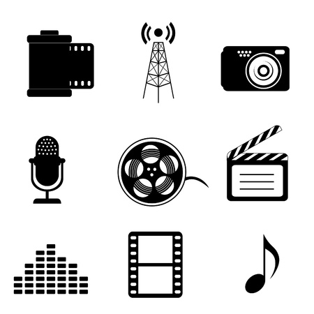 Mass media icons in black Vector
