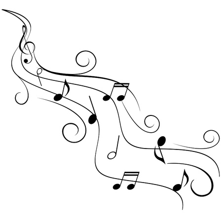 sheet music: Music notes on swirling stave Illustration