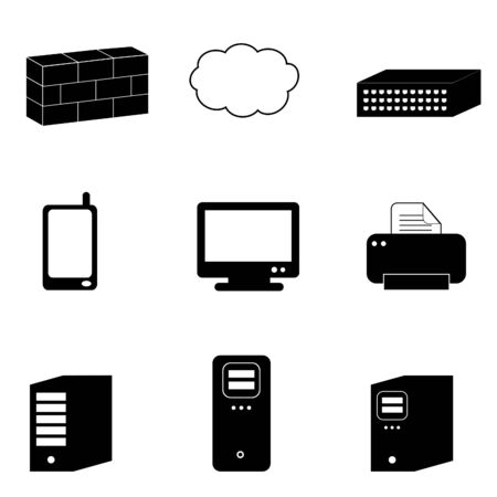 computer art: Computer and network icons in black