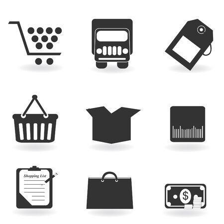 Winkelen pictogrammen in garyscale silhouet Stock Illustratie