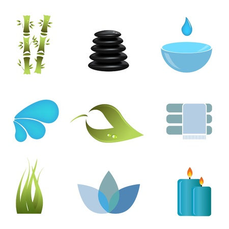 Spa related items and symbols Stock Illustratie