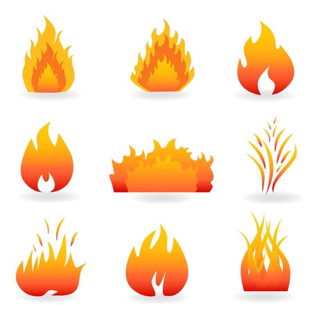 Flame and fire symbols and icons Imagens - 8775948