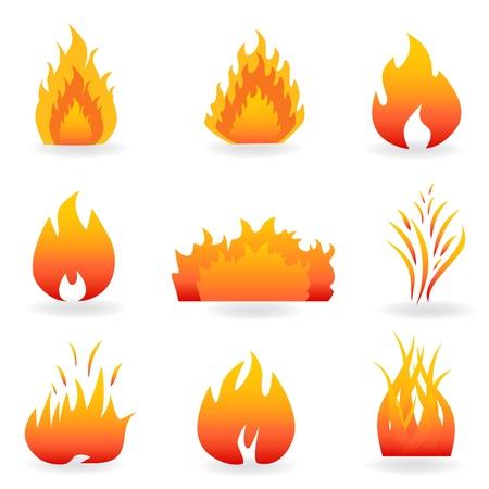 Flammen- und Feuer-Symbole und Symbole Standard-Bild - 8775948