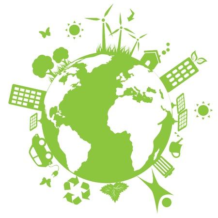 regenerative energie: Gr�ne Umgebung Symbole auf der Erde