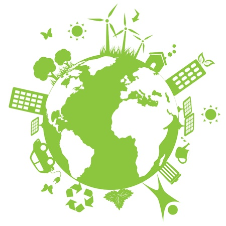 Green environment symbols on earth Vector