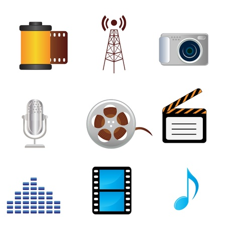 Film, music, photography related media icons Vector