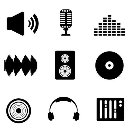 Audio, muziek en geluids pictogram set