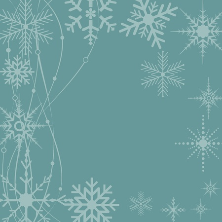 Blue snowflakes for winter postcard