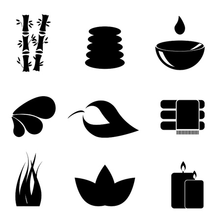 black stone: Spa and relaxation icon set