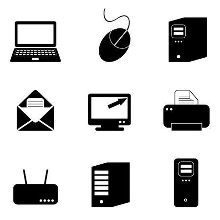 Computer en technologie pictogram set in zwart Stock Illustratie