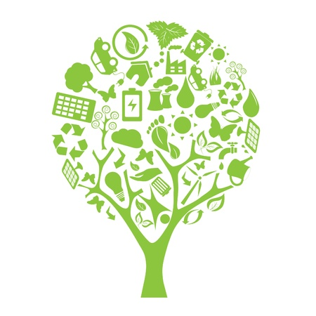 Green tree made of eco friendly elements Illustration