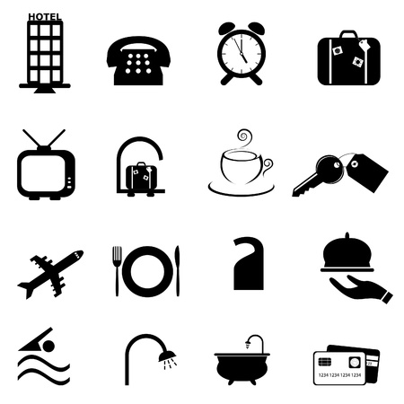accomodation: Hotel related symbols or buttons icon set