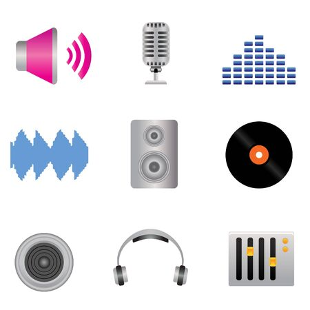 Audio, music and sound icon set Vector