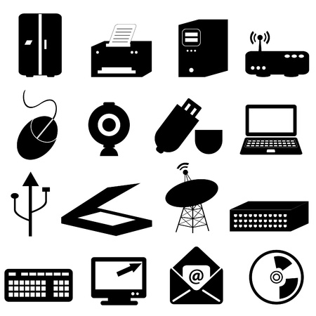 Computer and technology related icons and symbols Vector