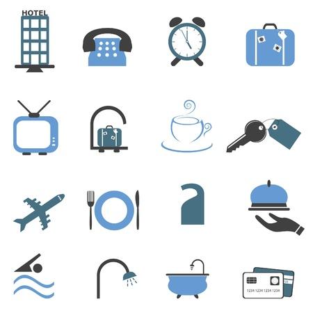 호텔 관련 기호 또는 단추 아이콘 집합