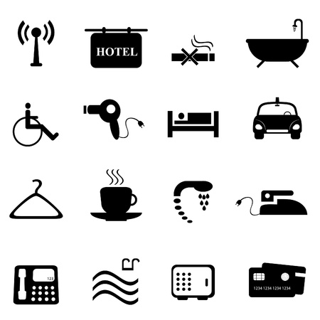 Hotel and accommodations icon set Vector