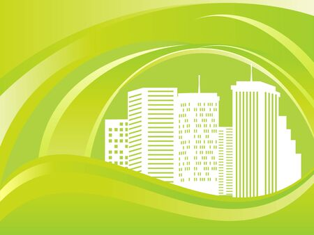 Green eco city with skyscrapers Vector