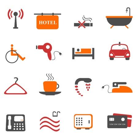 hospedaje: Conjunto de iconos de hotel o alojamiento Vectores