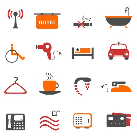 hotel: Hotel or accommodation icon set Illustration
