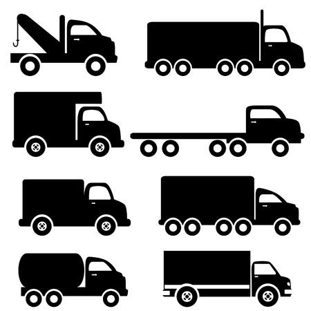 ciężarówka: Różne silhouettes ciężarówek w czerni