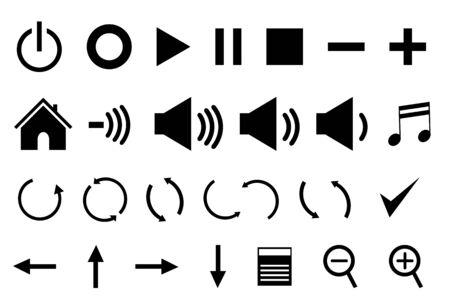 Control panel icons in black Vettoriali