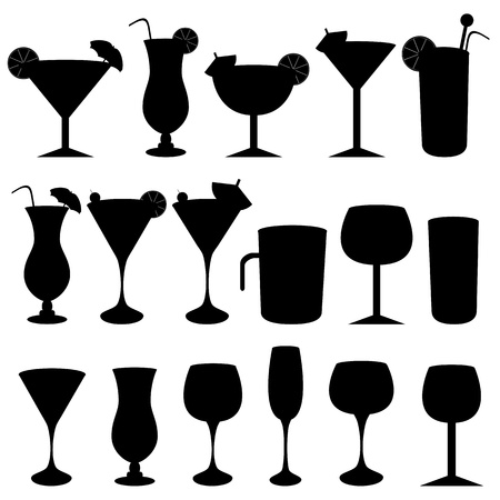 Alcoholic drinks, cocktails and glasses Ilustração