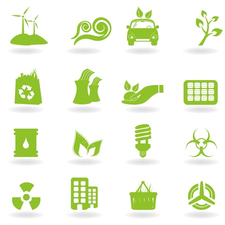 Eco and green environment icons Çizim