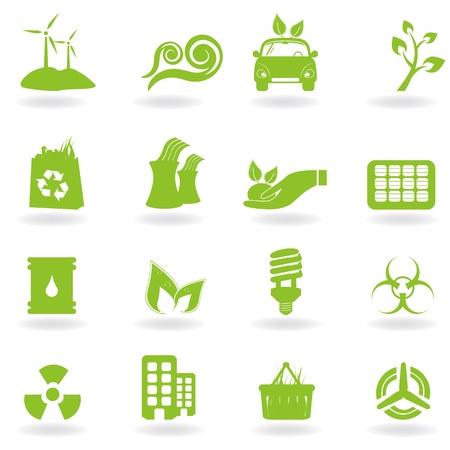 Eco en groen milieu pictogrammen