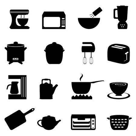 Kitchen utensils and items in black Vector